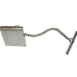 Silver Toned Etched Baseball Tie Tack
